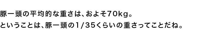豚一頭の平均的な重さは、およそ70kg。ということは、豚一頭の1/35くらいの重さってことだね。